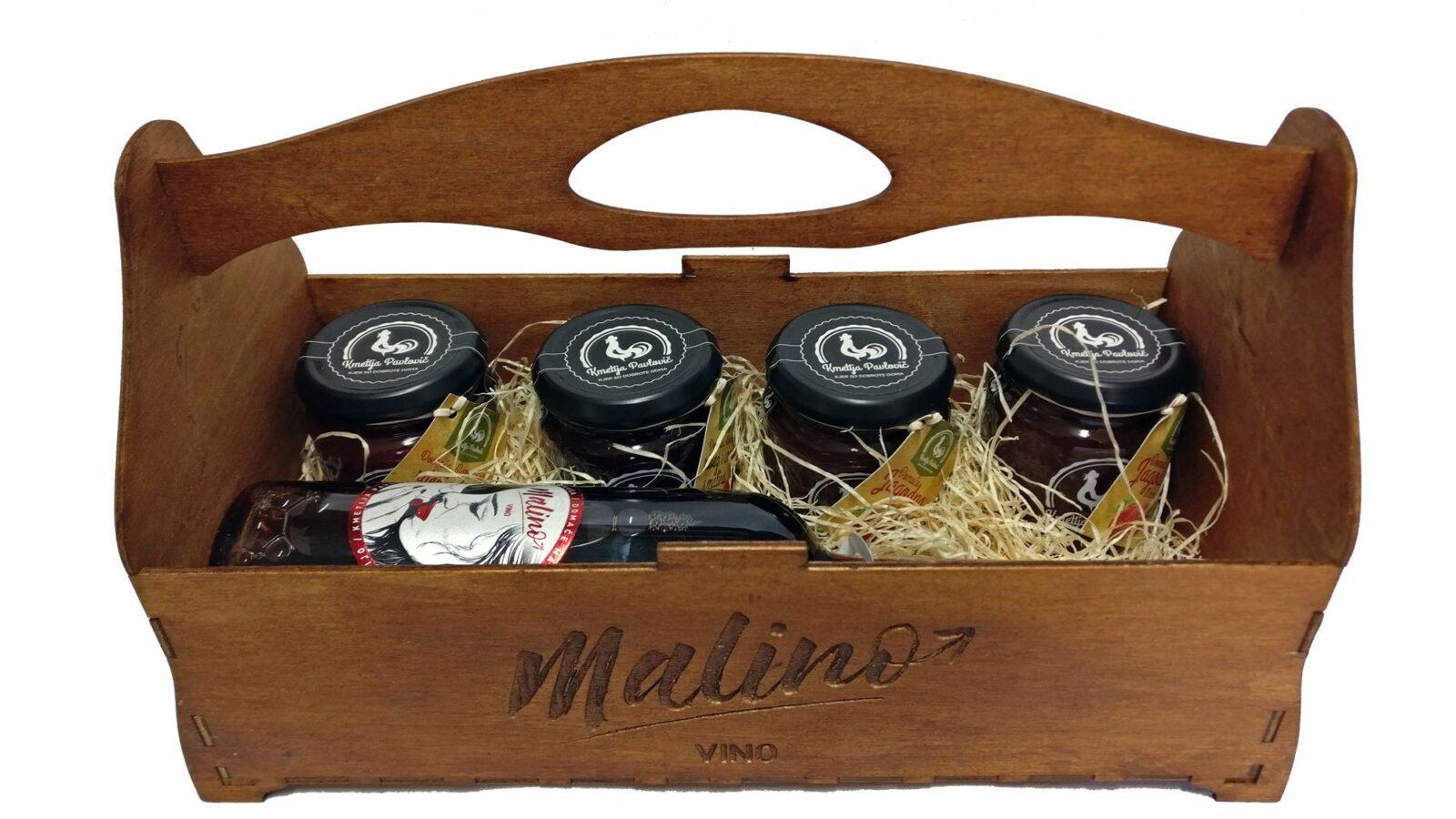 Malino LUX vino z kompletom marmelad leseni embalaži