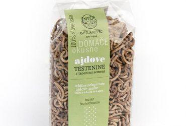Domače ajdove testenine (ravni makaroni) z lanenimi semeni, 300g